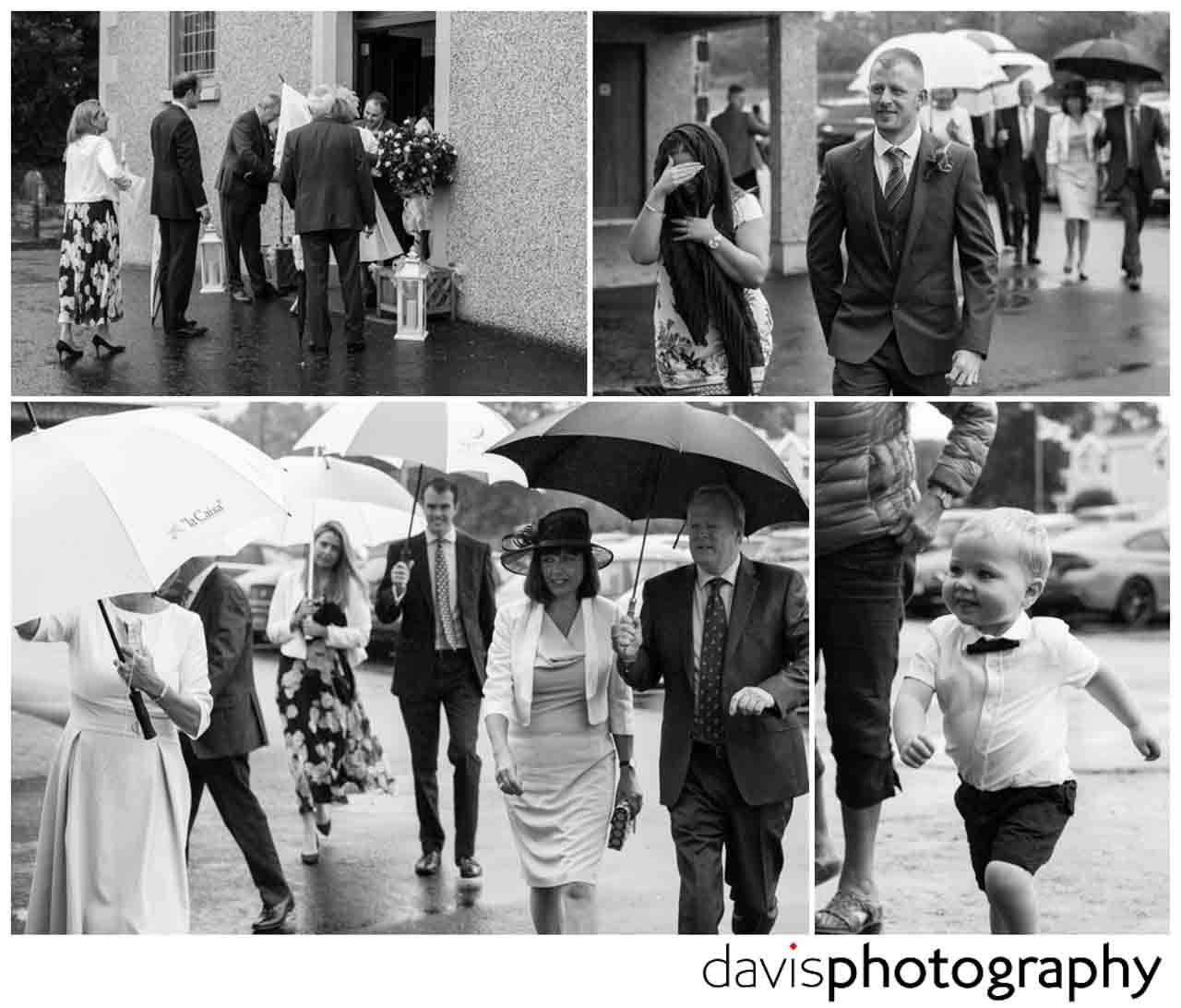 guests arrive with umbrellas