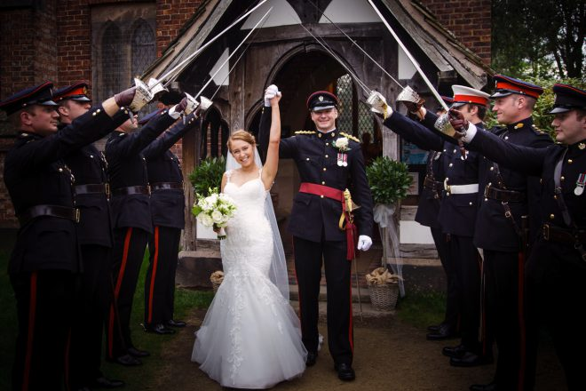 guard of honour for bride and groom